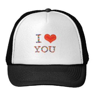 I LOVE YOU : Elegant Script of Love n Romance GIFT Mesh Hats