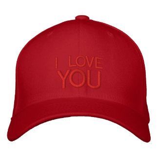 I LOVE YOU EMBROIDERED BASEBALL CAP