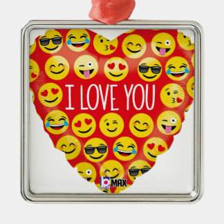 I love you emoji heart metal ornament