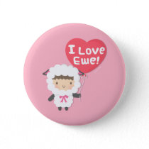 I Love You Ewe Cute Sheep Pun Button