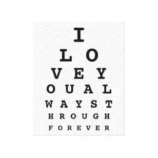 I Love You Eye Chart Canvas Canvas Print