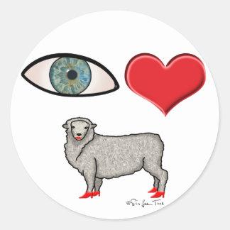 I Love You - Eye Heart Ewe Classic Round Sticker