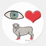 I Love You - Eye Heart Ewe Round Stickers