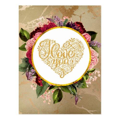 I Love You Fancy Golden Ornate Heart Postcard