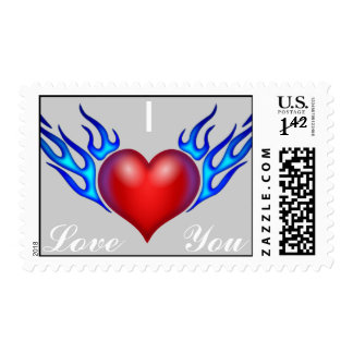 I Love You, Flaming Heart Postage Stamps