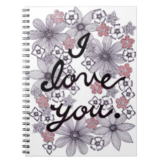 I Love You Floral Typography With Minimal Colors Notebook
