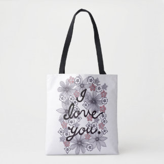 I Love You Floral Typography With Minimal Colors Tote Bag