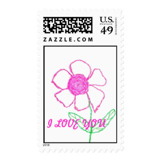 I Love you Flower stamp