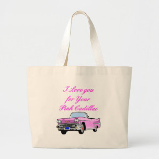 I Love You For Your Pink Cadillac Vintage 50s Large Tote Bag