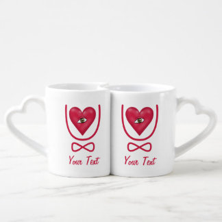 I love you forever Eye heart U eternity Coffee Mug Set