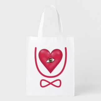 I love you forever Eye heart U eternity Reusable Grocery Bag