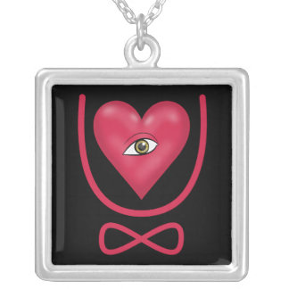 I love you forever Eye heart U eternity Silver Plated Necklace