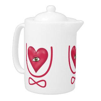 I love you forever Eye heart U eternity Teapot