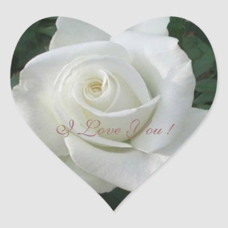 I Love You! Fresh White Rose, Heart Sticker
