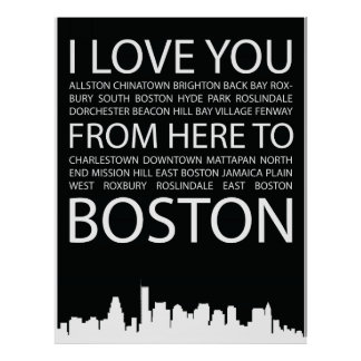 I Love You from here to Boston typography poster