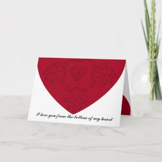 I love you from the bottom of my heart card