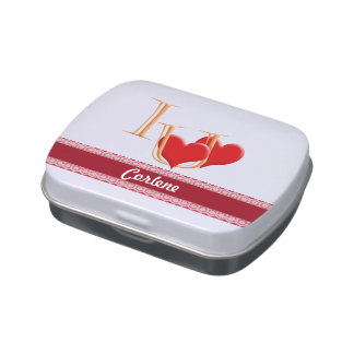 """""""I love you"""" fun hearts with banner. Candy Tin"""