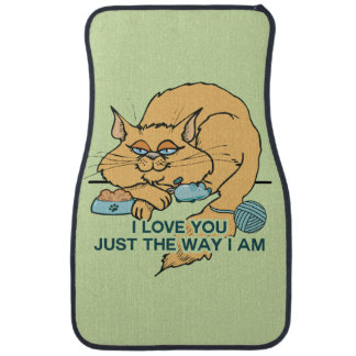 I Love You Funny Cat Graphic Saying Car Mat