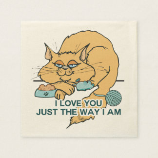 I Love You Funny Cat Graphic Saying Paper Napkin