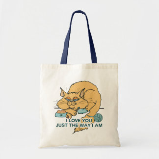 I Love You Funny Cat Graphic Saying Tote Bag