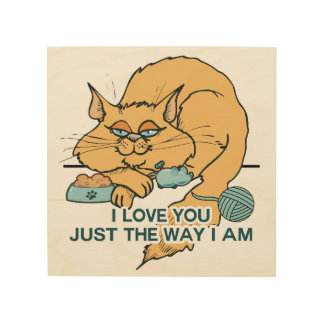 I Love You Funny Cat Graphic Saying Wood Wall Art