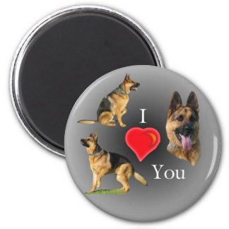 I Love You German Shepherd 2 Inch Round Magnet
