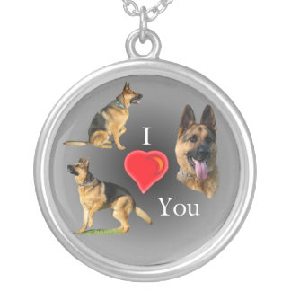 I Love You German Shepherd Round Pendant Necklace