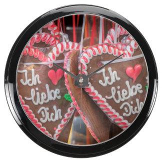 I Love You Gingerbread Hearts At The Holiday Aqua Clocks