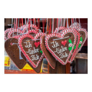 I Love You Gingerbread Hearts At The Holiday Poster