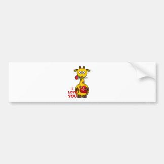 i love you giraffe bumper sticker