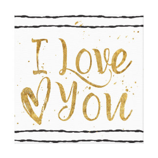 """I Love You"" Gold and Stripes Square Canvas"