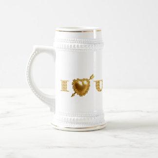 I LOVE YOU. Gold, jeweled I Heart You. Beer Stein