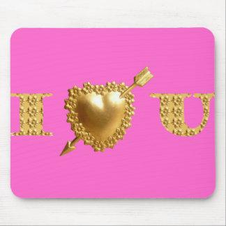 I LOVE YOU. Gold, jeweled I Heart You. Mousepads