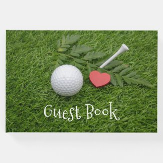 I love you golfer golf ball with tee on green guest book