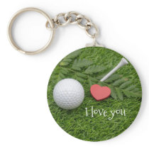 I love you golfer golf ball with tee on green keychain