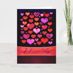 I LOVE YOU Gothic Pink Red Hearts Drawing Holiday Card