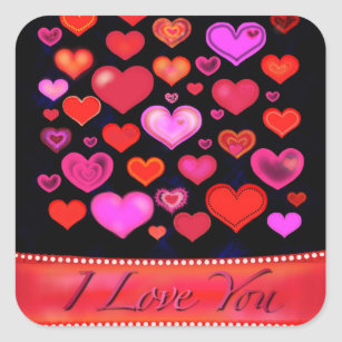 I LOVE YOU Gothic Pink Red Hearts Drawing Square Sticker