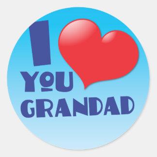 I love you grandad cards classic round sticker