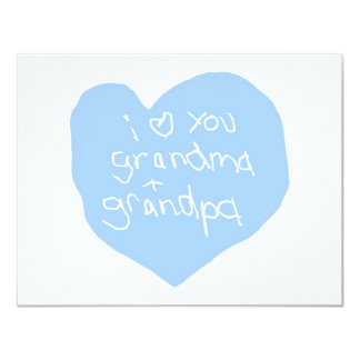 I Love You Grandma And Grandpa Blue Invites