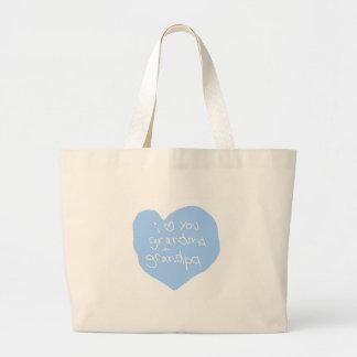 I Love You Grandma And Grandpa Blue Large Tote Bag