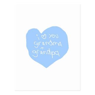 I Love You Grandma And Grandpa Blue Postcard