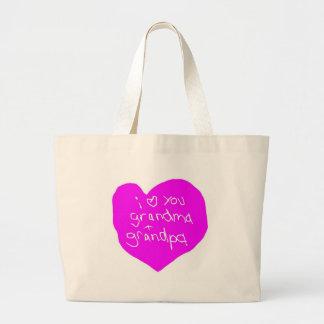 I Love You Grandma And Grandpa Pink Large Tote Bag