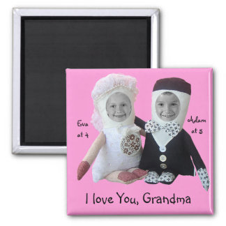I love You Grandma Insert Photo Dolls Pink Magnet