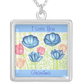 I Love You Grandma Tulip Garden Necklace