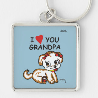 I Love You Grandpa Angel Keychain