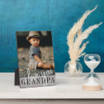 "I Love You Grandpa Custom Photo Plaque<br><div class=""desc"">Modern photo plaque featuring single photo of a child and ''I love you Grandpa'' in modern lettering on a grey background. Beautiful gift for grandfathers.</div>"
