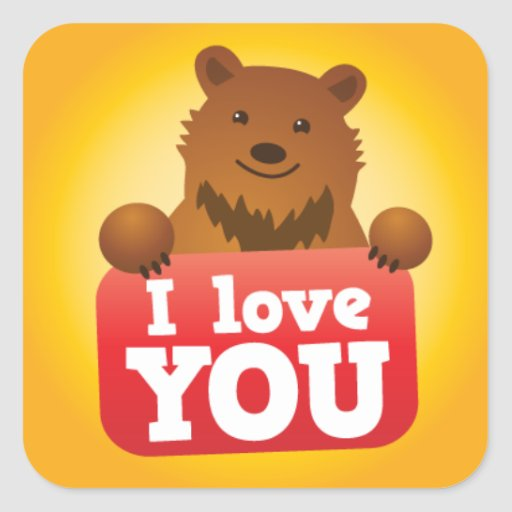 Love you grizzly bear cute kawaii square sticker zazzle