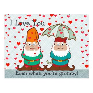I Love You Grumpy Gnome Postcard