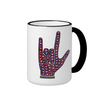 I Love You hand signs filled with emoji hearts Ringer Coffee Mug