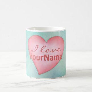 I love you heart custom name mugs